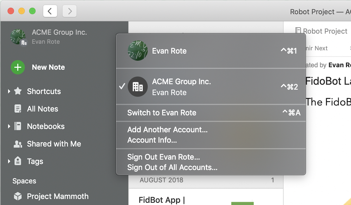 Account switcher on Evernote for Mac
