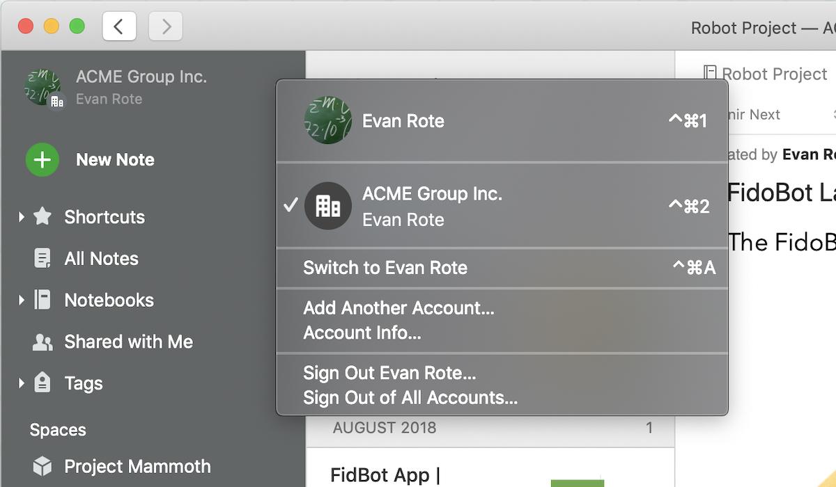Sélecteur de compte sur Evernote pour Mac