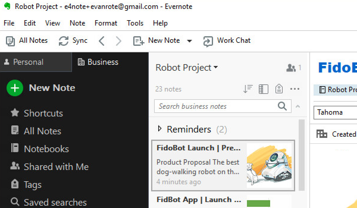 Account switcher on Evernote for Windows