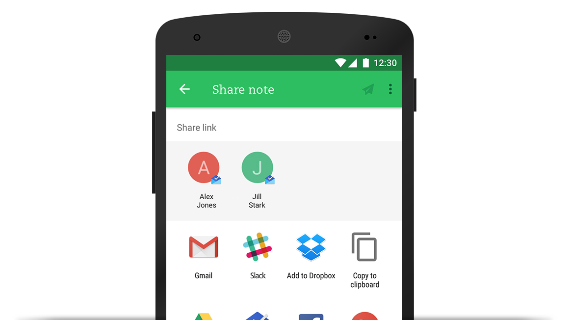 Sharing in Evernote for Android