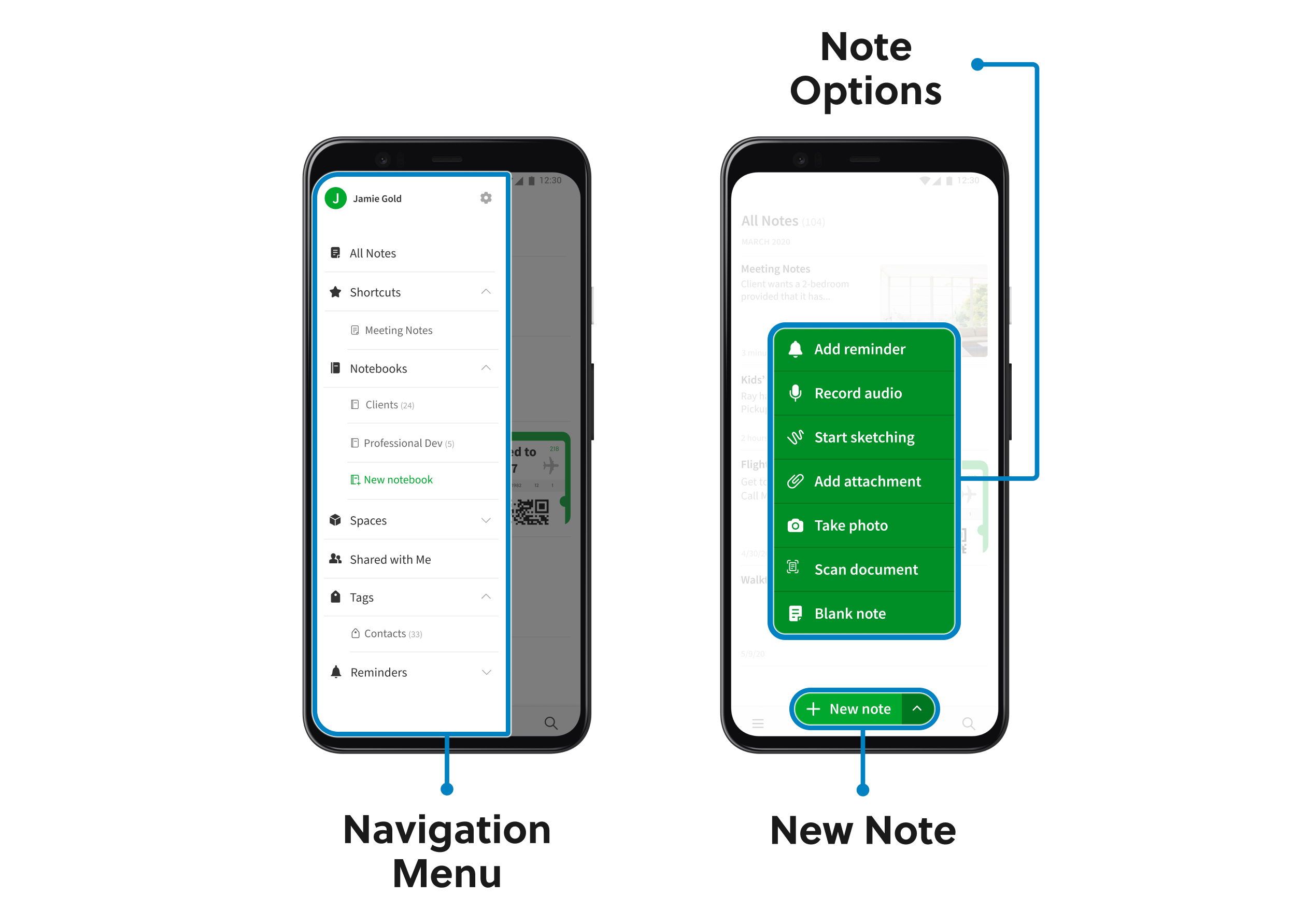 Image de l'interface d'Evernote pour Android