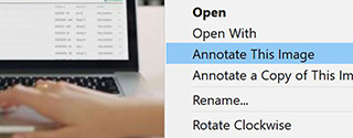 Annotation d'images sous Windows