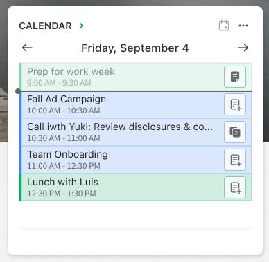 Listevisning i kalenderwidgeten