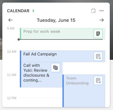Tidslinjevisning i kalenderwidgeten