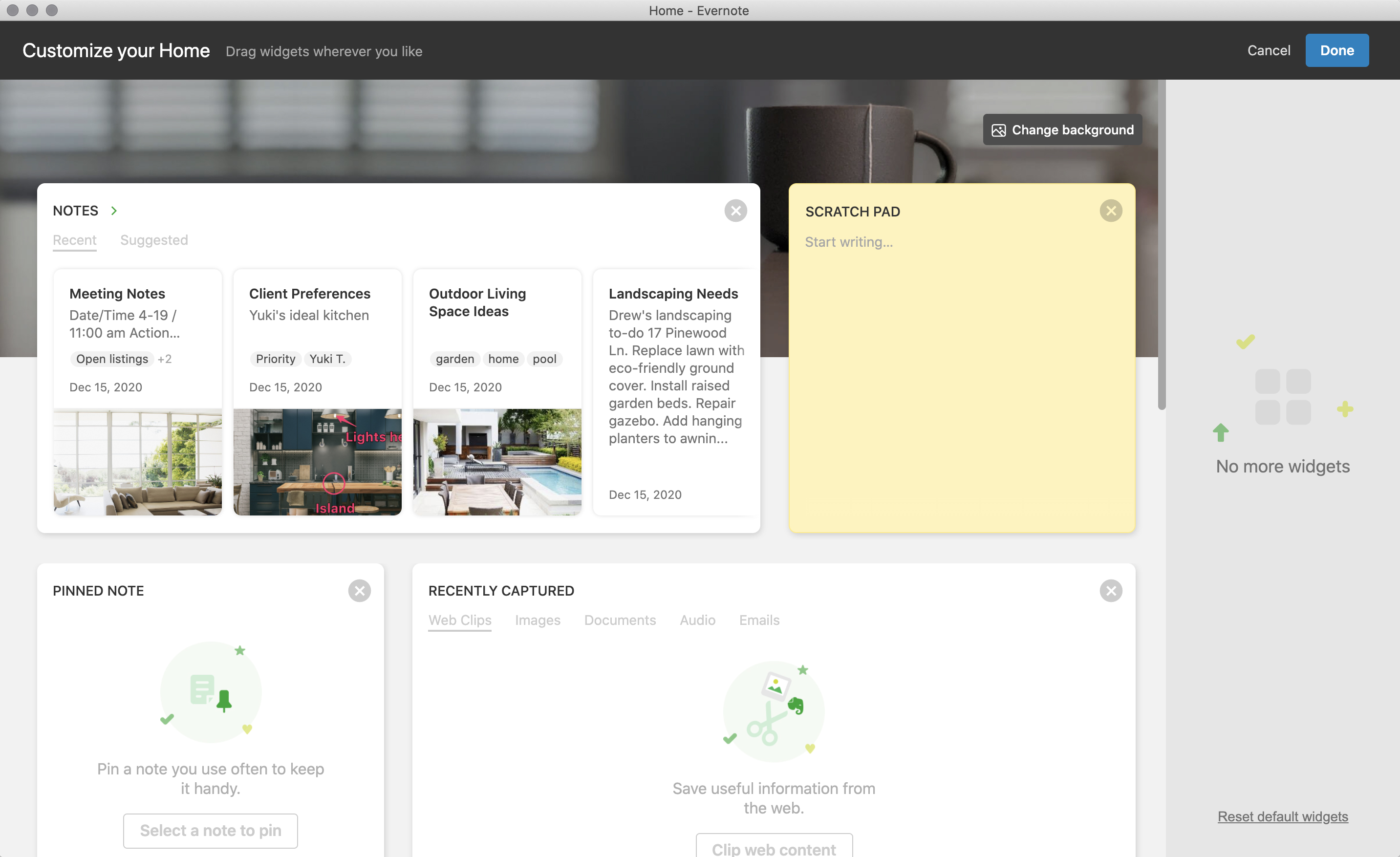 Customize Home in Evernote