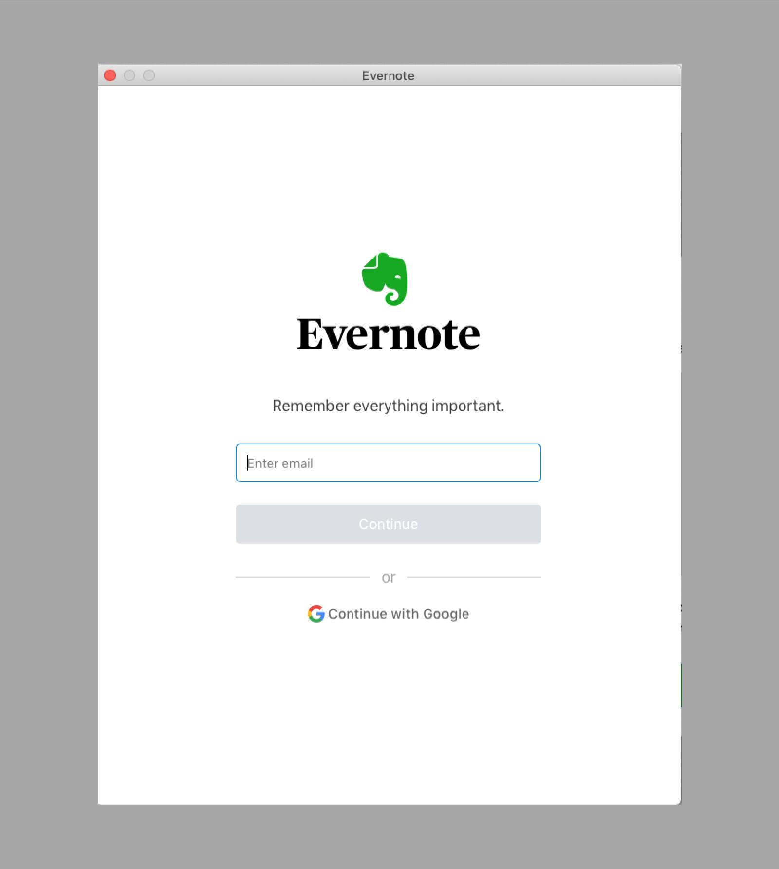 Evernote Business account update login screen