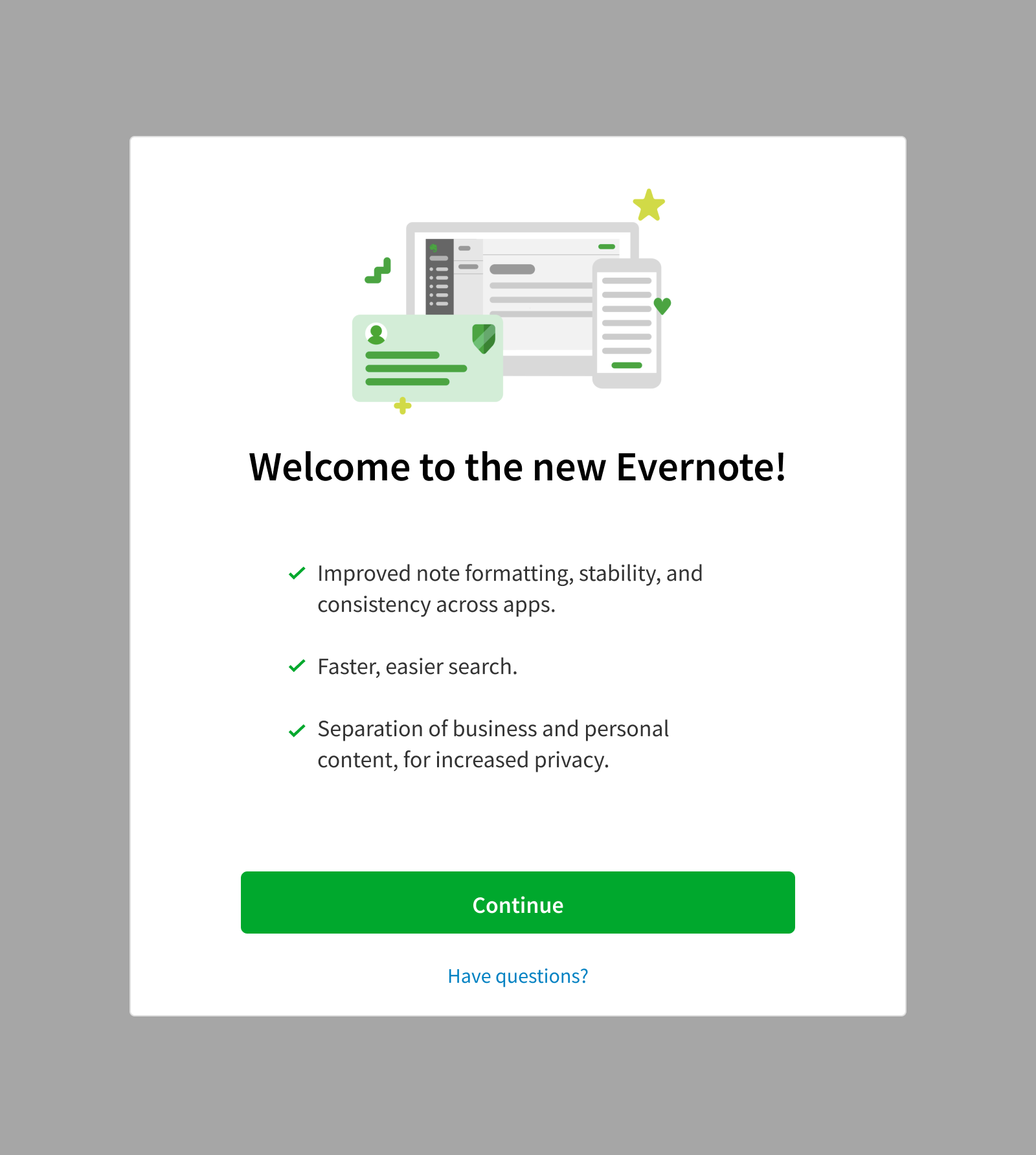 Evernote Business account update welcome screen