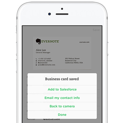 How to scan business cards into salesforce evernote help learning contact card with add to salesforce option reheart Images