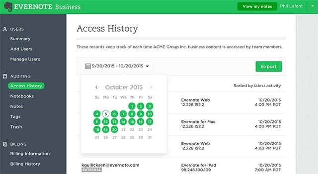 Seite in der Administratorkonsole zum Zugriffsverlauf