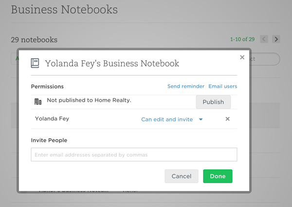 Manage sharing of published notebooks