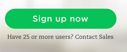 Sign up button on Evernote Business site