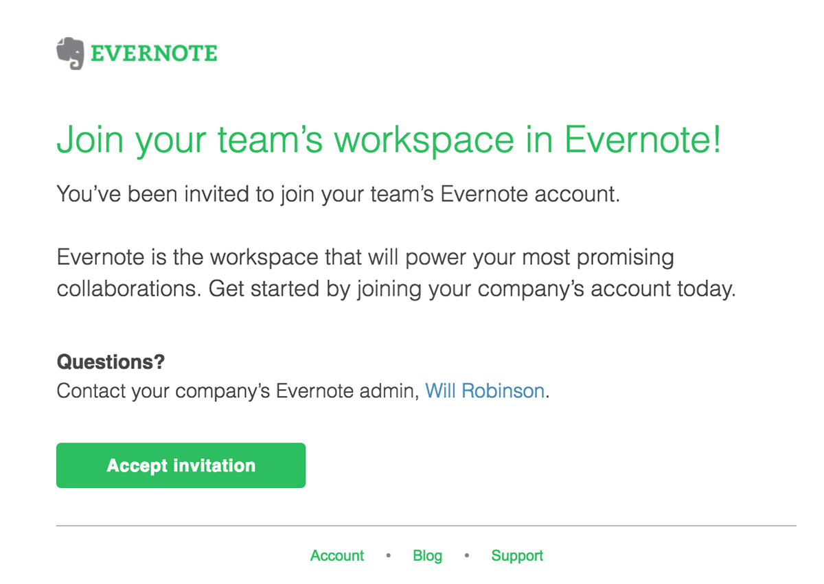 Convite por e-mail do Evernote Business