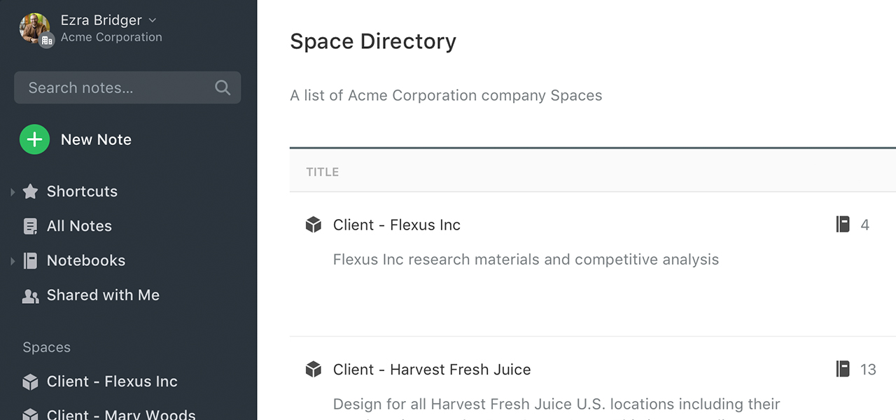 Screenshot of Space Directory