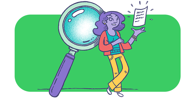 A woman with a magnifying glass to indicate search
