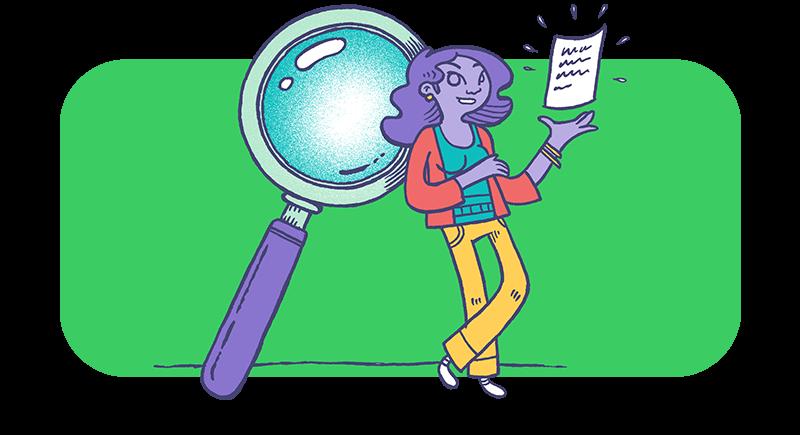 Una donna con una lente d'ingrandimento per indicare la ricerca