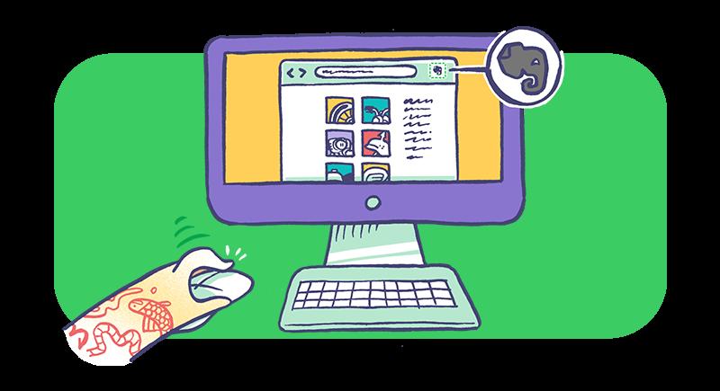 Spara webbsidor från webbläsaren i Evernote