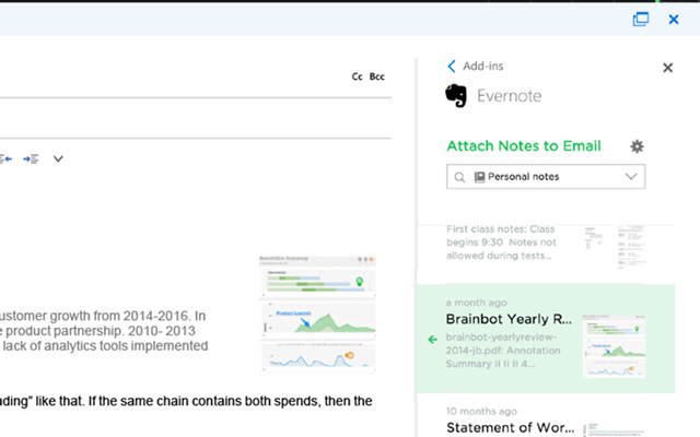 Comment joindre des notes Evernote à un email Outlook