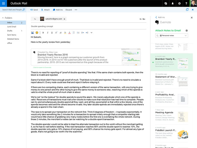Capture d'écran Evernote pour Outlook