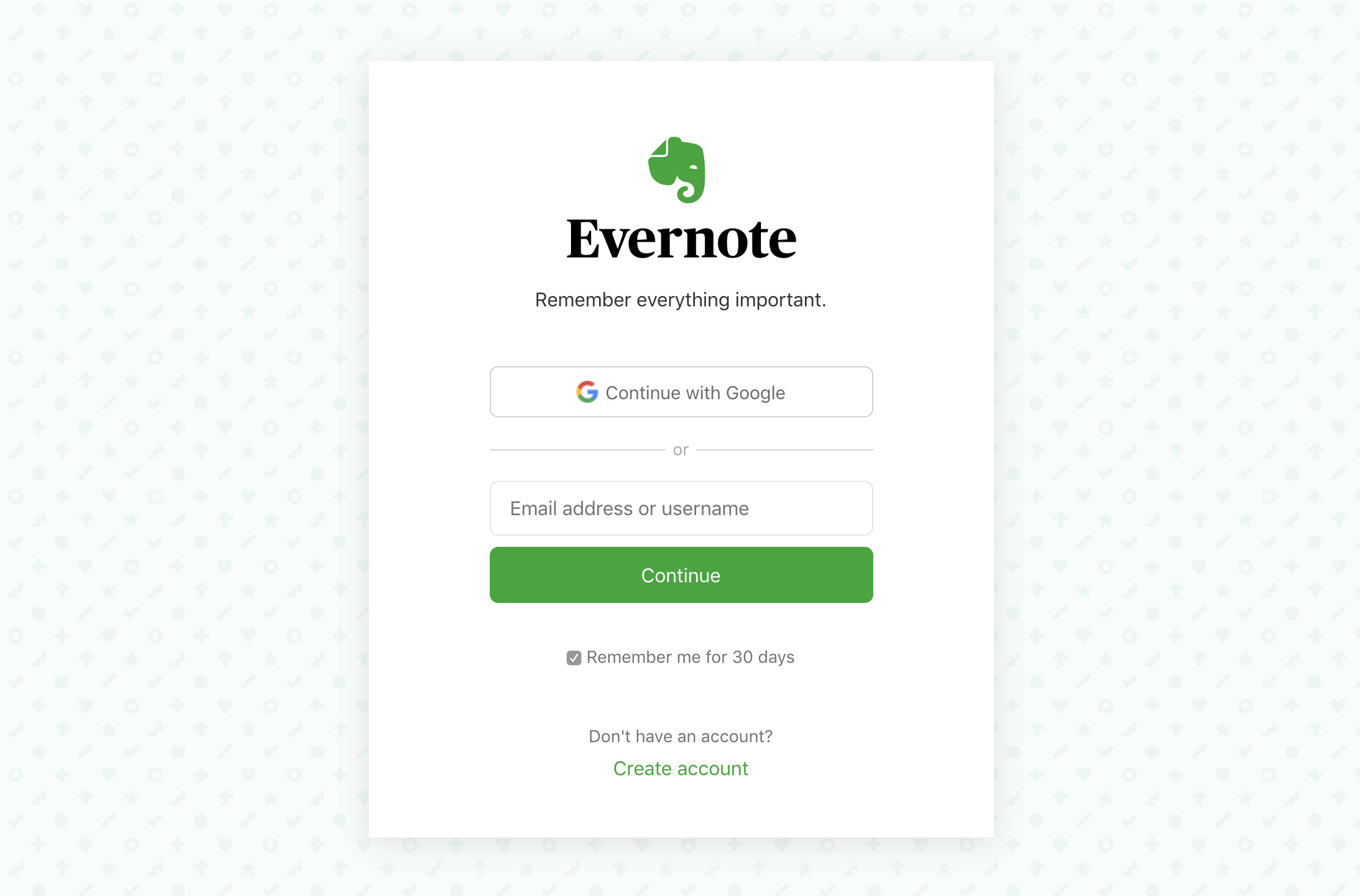 Evernote Web login page