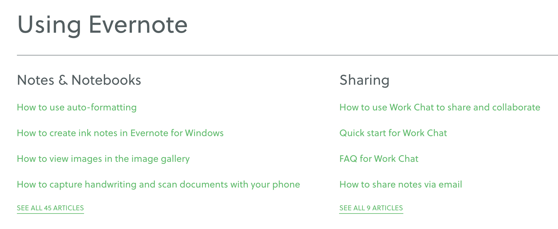 Using Evernote section of Help & Learning