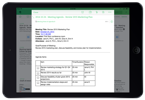Easily review agendas from mobile devices
