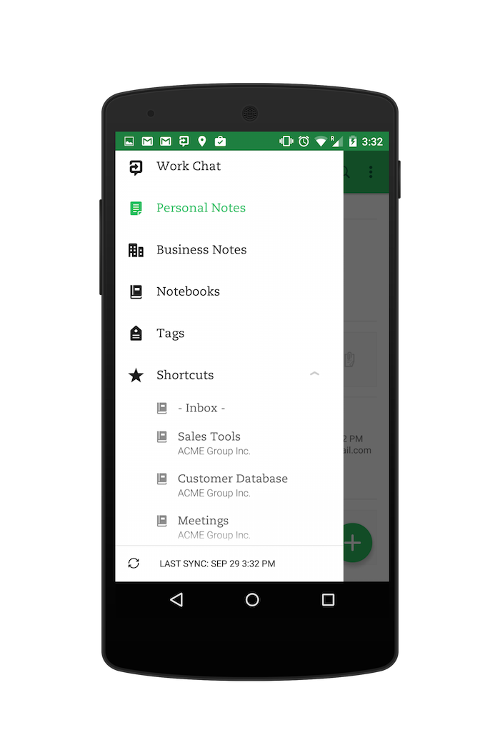 Shorcuts menu in Evernote for Android