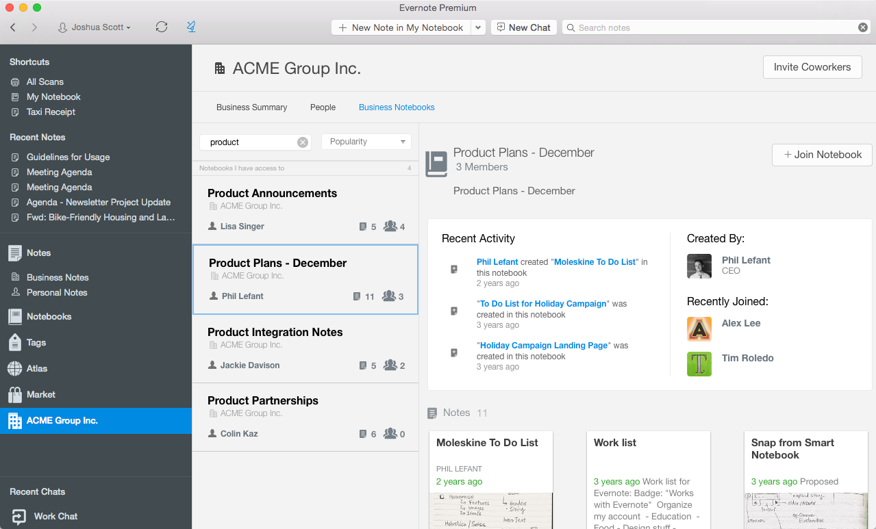 Business Home no Evernote para Mac