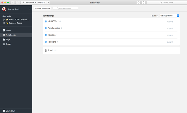 Personal notebooks in Evernote for Mac