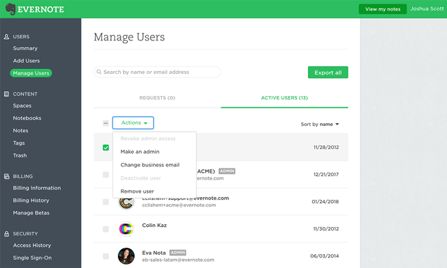Manage Users in the admin console