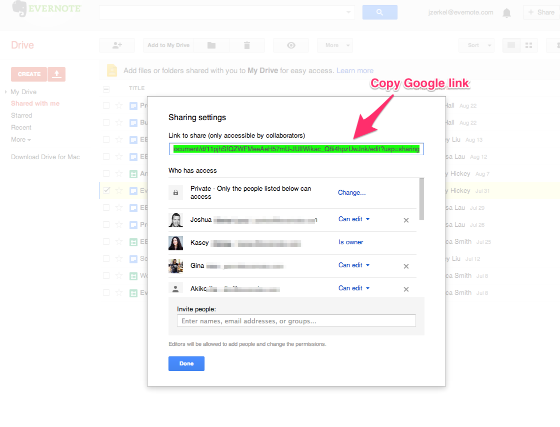 Copie um link do Google Docs