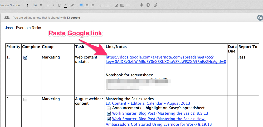 Pega un enlace de Google Docs en Evernote
