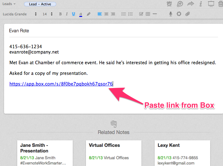 Paste a Box link in Evernote