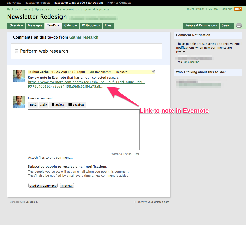 Cole um link do Basecamp no Evernote