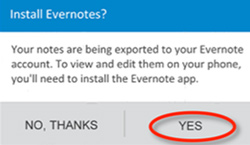 Exporter les notes de HTC Notes vers Evernote