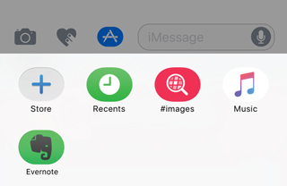 Evernote in iMessage app drawer