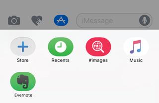 iMessage のアプリドロワーの Evernote