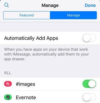 Evernote iMessage アプリの有効化