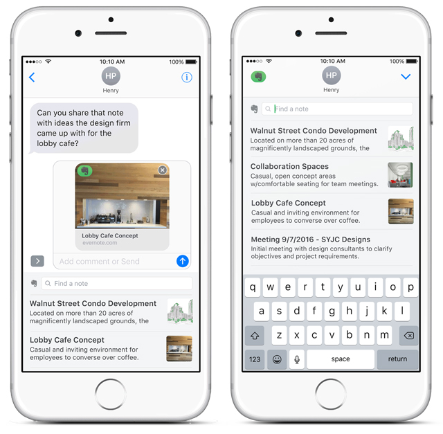 Preview of an Evernote note in iMessage
