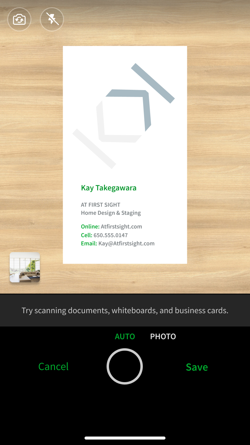 Phone with scanned business card