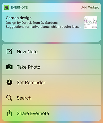 iOS Evernote-widget vist med 3D Touch-hurtighandlinger
