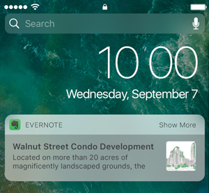 Widget do Evernote iOS no modo minimizado
