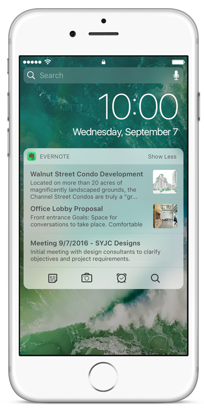Il widget di Evernote per iOS su un iPhone