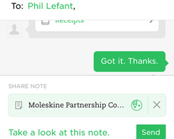 Send note via Work Chat