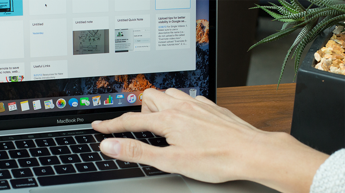 A Touch Bar no Evernote para Mac