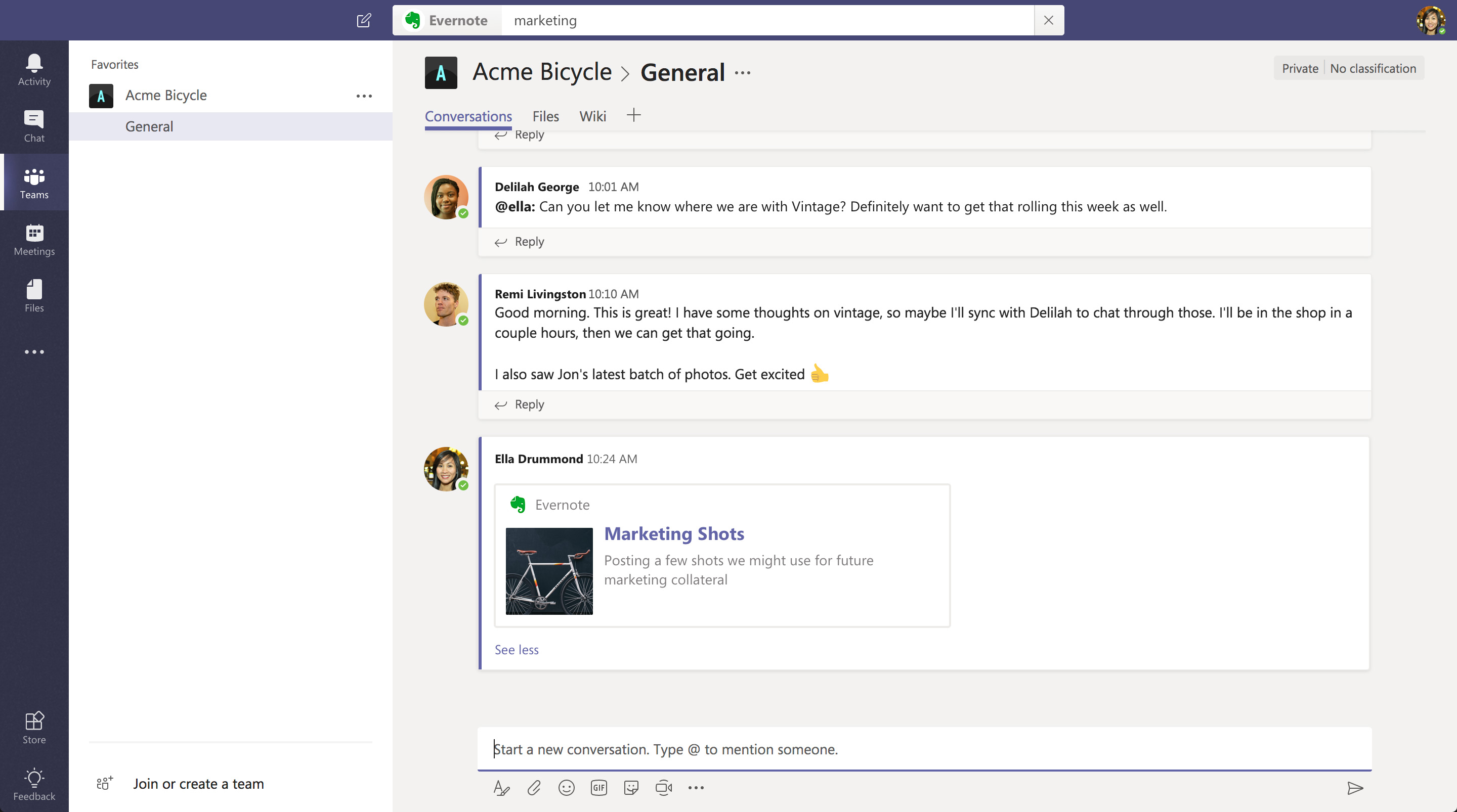 Evernote для Microsoft Teams
