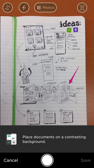 Capture pages using the Evernote iOS camera