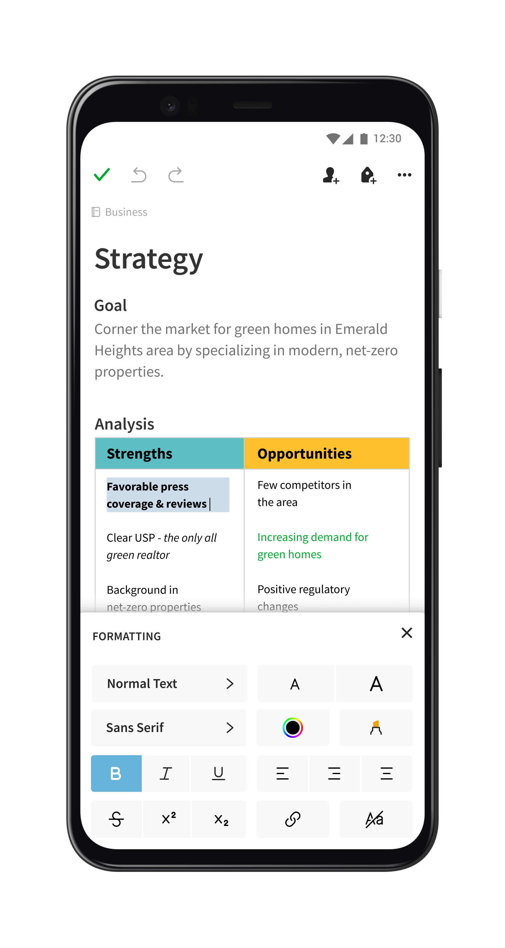 The new note editor in Evernote for Android