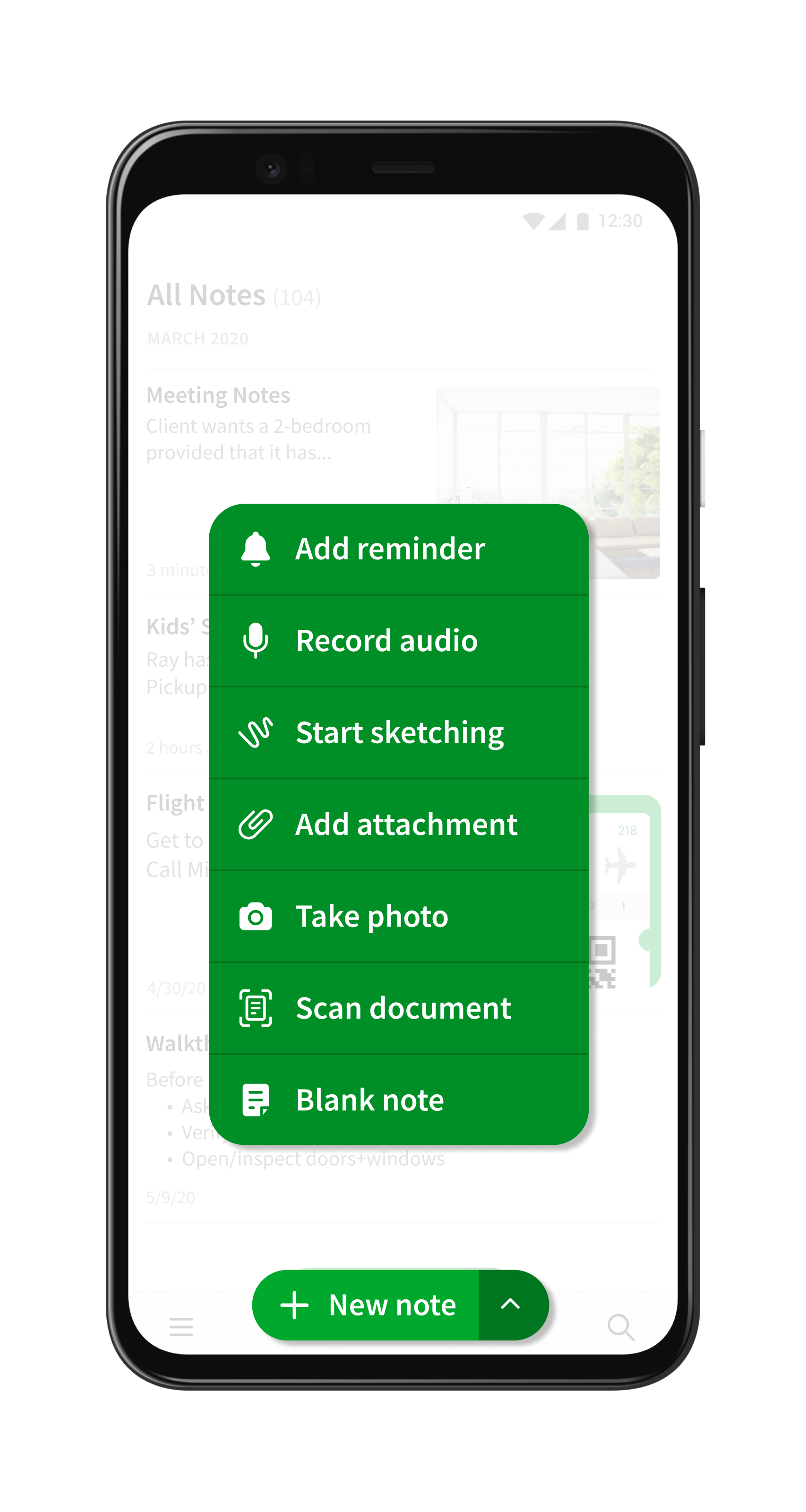 The new 'New note' button in Evernote for Android