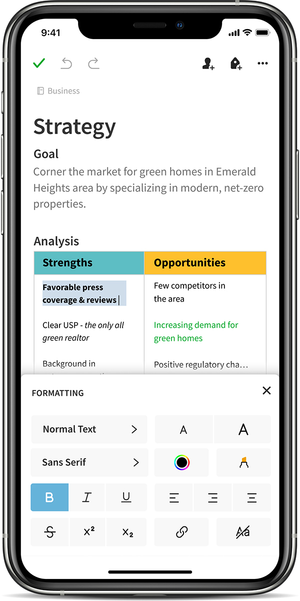 The new note editor in Evernote for iOS