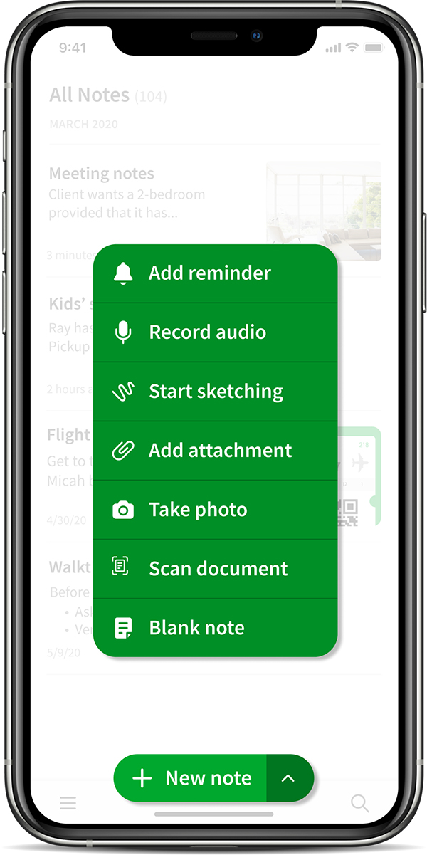 The new 'New note' button in Evernote for iOS